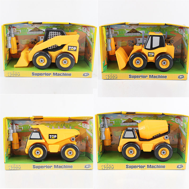 4 pcs/lot assemblée modèle garçons jouet en plastique ingénieur véhicule camions modèle kits de construction jouets éducatifs BRICOLAGE enfants enfants Cadeaux