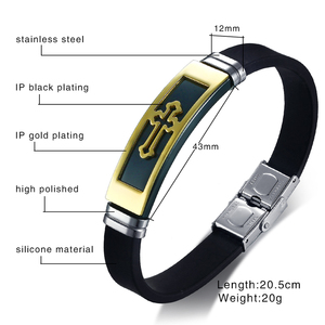 Image 3 - Gold Tone Cross Cuff Bracelet for Men Black Rubber Bracelets Bangles Male Prayer Armhand Jewelry 8""