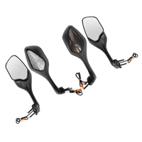 1Set Plastic Black Rear View Side Mirrors LED Motorcycle Turn Signal Rear View Mirror For Honda