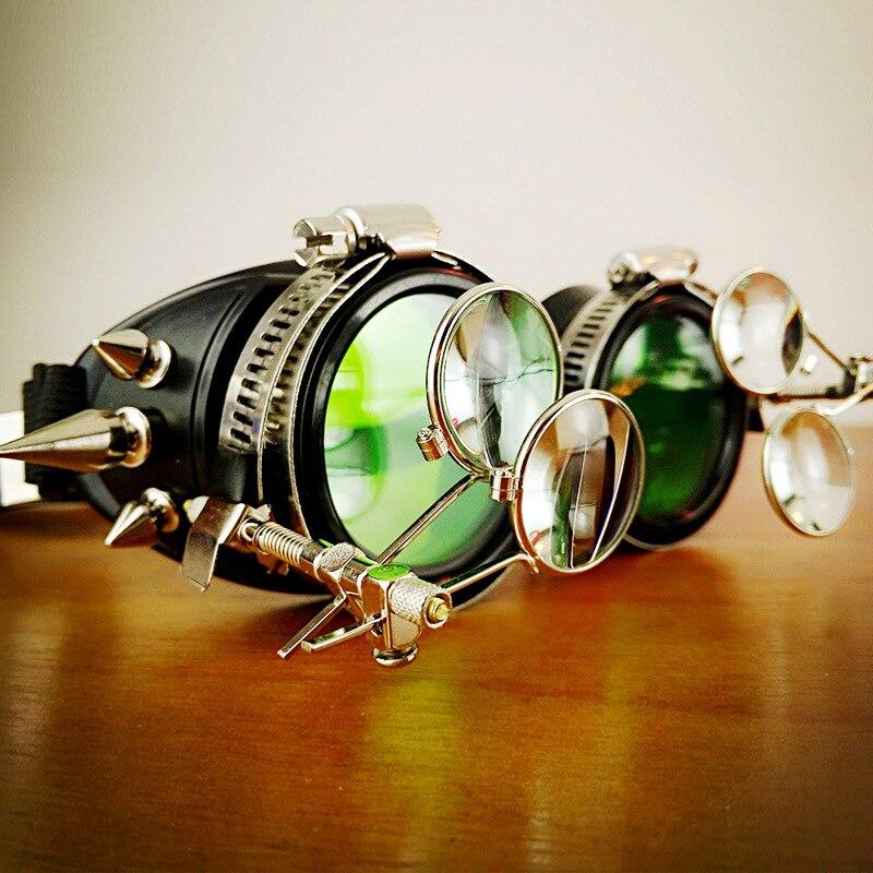 Corzzet noir en plastique métal Rivet Punk Rock gothique coupe-vent miroir Steampunk lunettes lunettes Halloween Cosplay accessoires