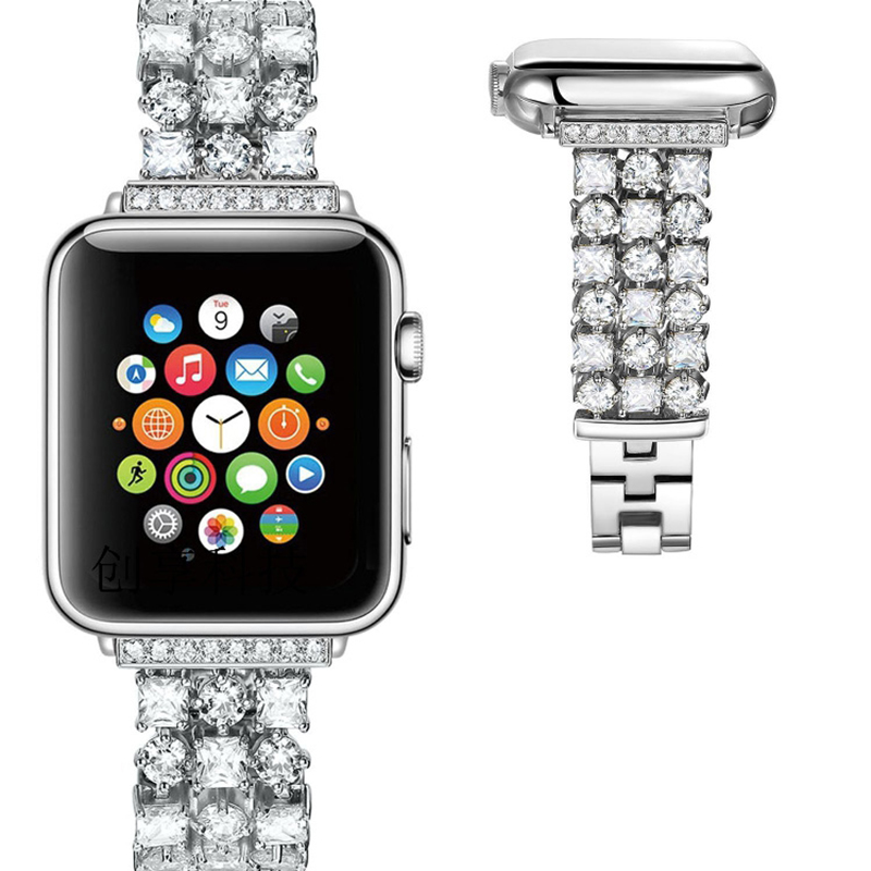Bracelet de luxe en diamant Bling pour montre Apple iWatch série 1 2 3 Bracelet en acier inoxydable strass 38mm 42mm