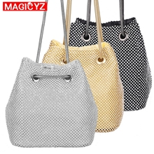 MAGICYZ Luxury diamond women bag Fashion Bling Party evening Clutches small Women Bucket Bag bolsa Messenger Bags