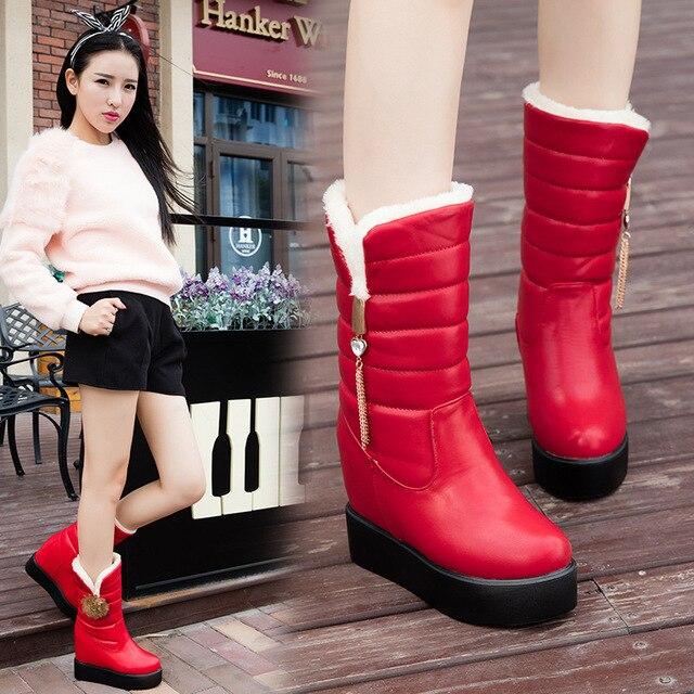 รองเท้าบู๊ทหิมะผู้หญิงฤดูหนาวหนาด้านล่างเพิ่มแบนกลางหลอดกลางลูกวัวรองเท้าบูทแฟชั่น Plush รองเท้าผ้าฝ้ายอุ่นหญิงรองเท้า