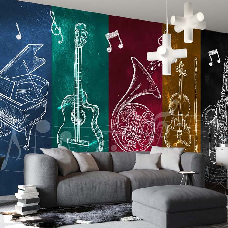 White 8D Papel Mural Musical Instruments 3D Silk Wallpaper Mural for Rock Bar Coffee KTV Background 3d Photo Mural Wall paper 3d papel parede forests trees bridge reflection scenery 3d wall paper mural 3d photo wallpaper 3d wall mural for sofa background
