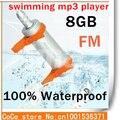 Mais novo Hot 8 GB resistência à água IPX8 impermeável MP3 esporte MP3 Player à prova de água MP3 fones de ouvido + rádio FM com 1 pcs