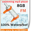 Newest Hot 8GB water resistance IPX8 mp3 Waterproof sport MP3 Player Water proof MP3 Headphones+FM Radio with 1pcs