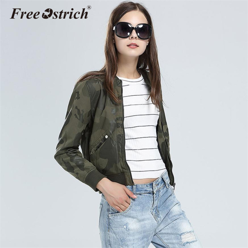 Free Ostrich Autumn Camouflage Leather Jacket Women PU Casual Full Sleeve Outerwear Zipper Faux Leather Jacket Military Coat