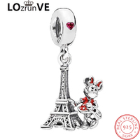 2018 original brand 925 sterling silver red girl cartoon vintage eiffel tower charms for jewelry making women wholesale Factory