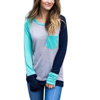 2017 Fashion Autumn Women Top Color Block Splicing Pocket Long Sleeve Baseball T Shirt O Neck