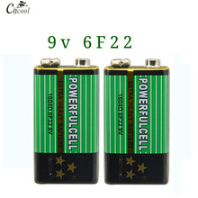 New 2x6F22 Battery 9V Laminated Carbon Batteries for Alarm Wireless Microphone Mercury Free Long working life