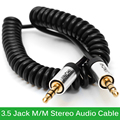Spiral Coiled 3.5mm Audio Cable Male to Male AUX Cable 3.5 Jack Stereo Audio Cable For Car Phone Mp3 1m 1.5m Spot Wholesale