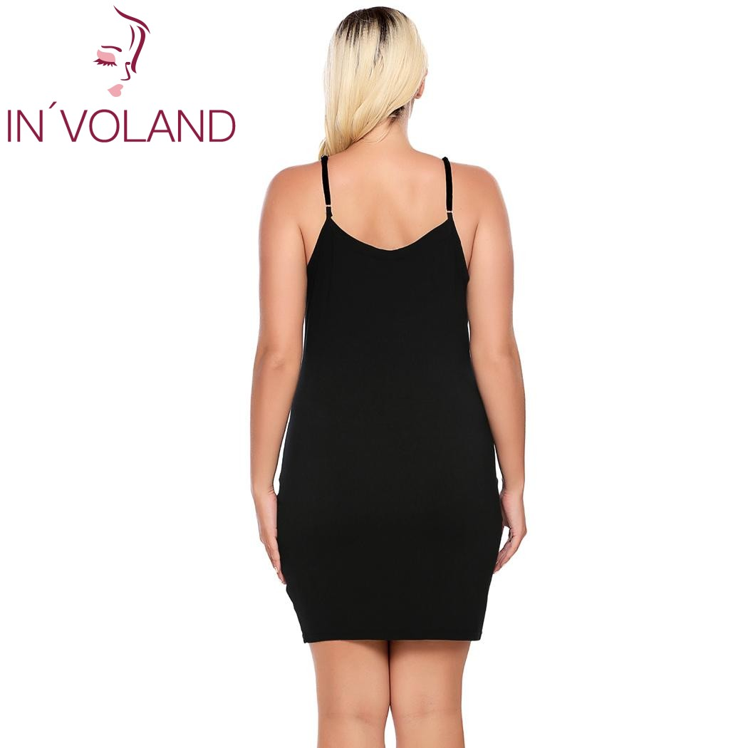 IN'VOLAND Plus Size Women Nightgown Sleepwear Dress Lounge Sexy Adjustable Strap Solid Large Home Sleepshirts Nightwear Big Size 4