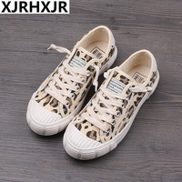 Spring Women Canvas Shoes Leopard Lace Up Lady Sneakers 2019 Flat Heel Thick Canvas Tiger Ins Hot Selling Fashion Shoes 35 40