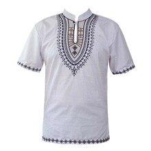 Summer Wear Ethnic Embroidery Dashiki Tops Mandarin Collar African Shirts