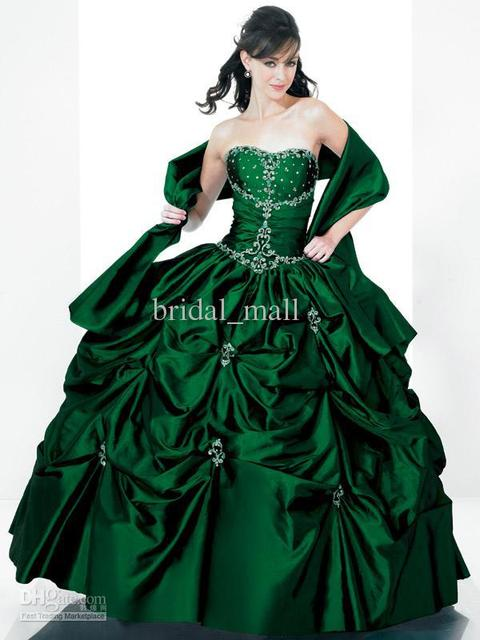d96358bf20e CHEAP free shipping beaded strapless ruffle ball gown emerald green  quinceanera dresses prom dresses