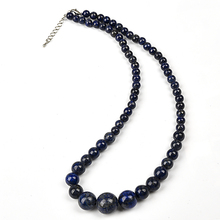 6 mm-14 mm Deep blue and Blue and black Trenchant L-a-pis l-a-z-u-l-i Stone jewelry Necklace .
