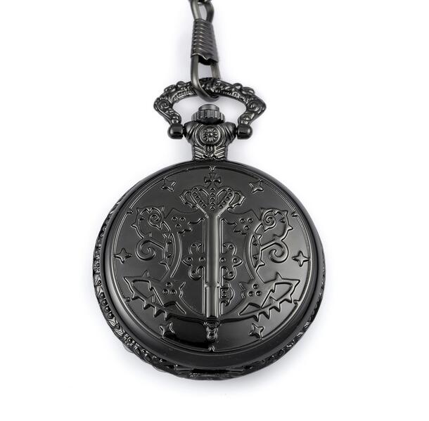 New Fashion Black Kuroshitsuji Black Butler Quartz Pocket Watch Analog Pendant FOB Men Watches Gift