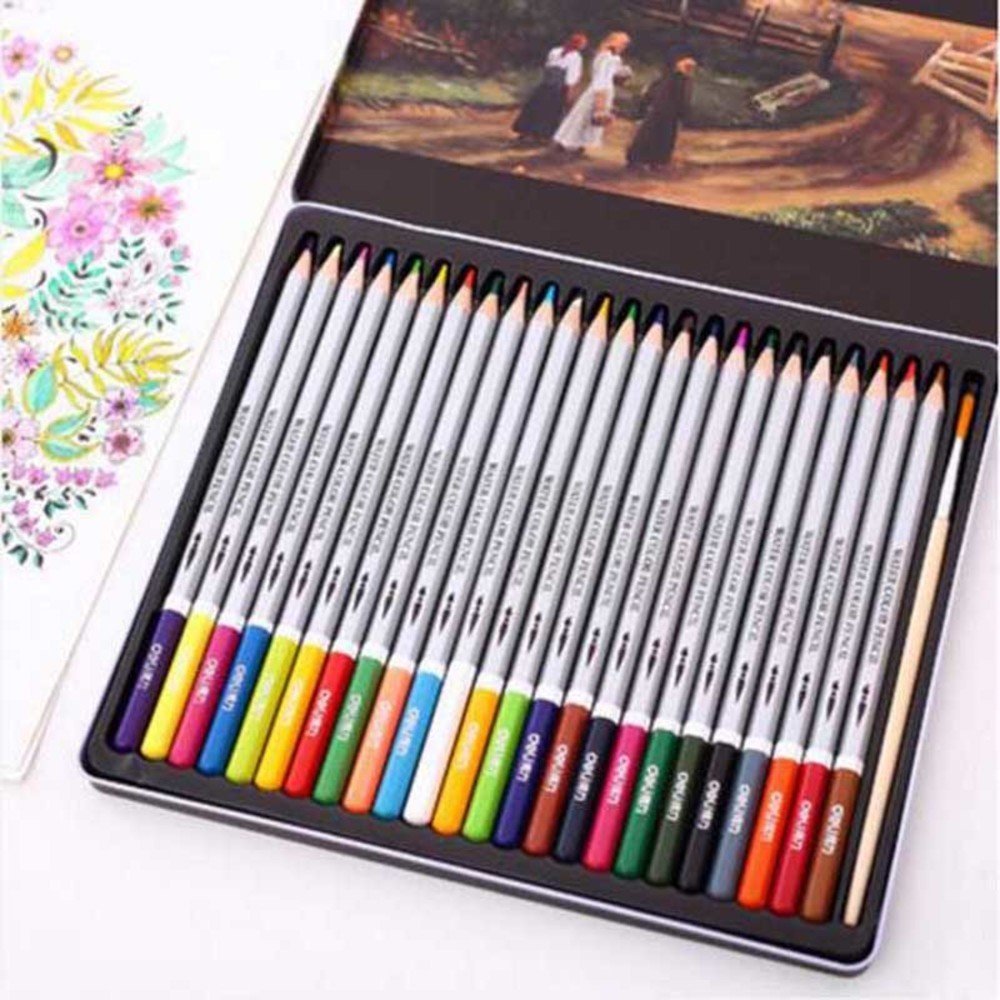 Free shipping water-soluble pencil tin box set hand-painted 24 36 48 60 Mixed color painting lapis de cor faber castell /Y16011