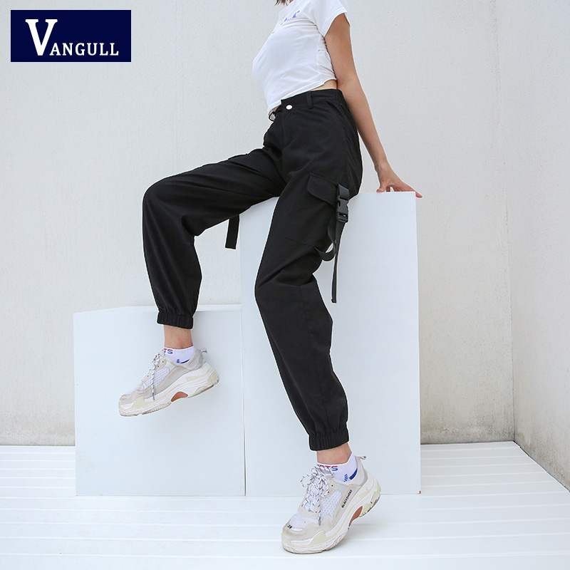 Vangull Long Cargo Pants Women High Waist Pants Buckle Big Pockets Female Trousers Streetwear Pant 2019 New Fashion Sweatpants