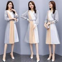 300cf4af8911 Autumn Women Clothes Vintage Dress Chiffon Tweed Knitted Casual Long Sleeve  Maxi Korean Women Elegant Plus Size Splicing Dress