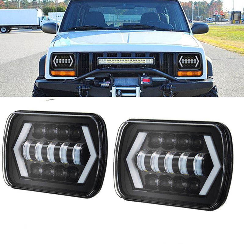2 PCS 55 W 7x6 ''5X7 LED Phare Halo DRL Pour 86-95 Jeep Wrangler YJ 84-01 Cherokee XJ Ange Yeux DRL H4 LED Phares Carrés
