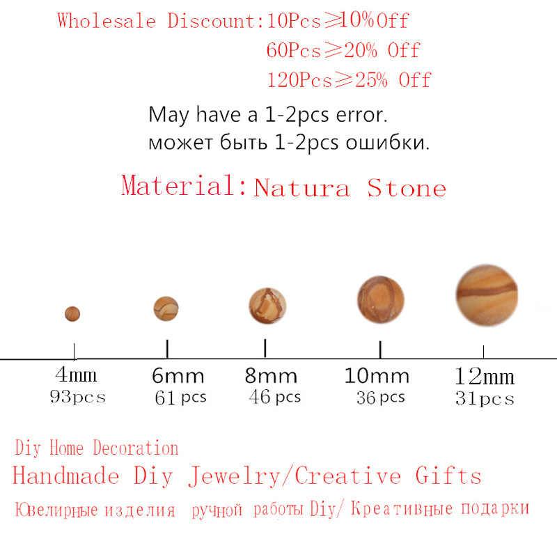 100% natürliche Stein Dull Polnischen Holz Streifen Runde Perlen 4/6/8/10/12 MM Fit diy Charme Perlen Für Schmuck Zubehör Großhandel