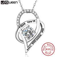 JQUEEN I Love You To The Moon And Back Necklace Cubic Zirconia Double Love Heart Necklace