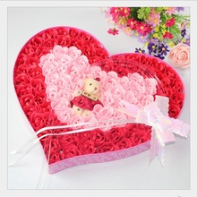 High Quality Valentine's Day Mother's day Roses Mix Colors Heart-Shaped Rose Soap Flower For Romantic Bath And Gift