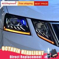 2Pcs LED Headlights For Skoda Octavia 2018 led car lights Angel eyes xenon HID KIT Fog lights LED Daytime Running Lights