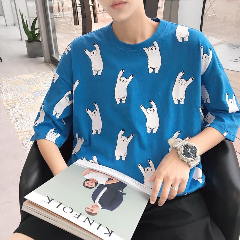 2018 Small Polar Bear Printing Personality Fashion T The new listing Tide Male shirt sholt hiphop harajuku Favourite letter