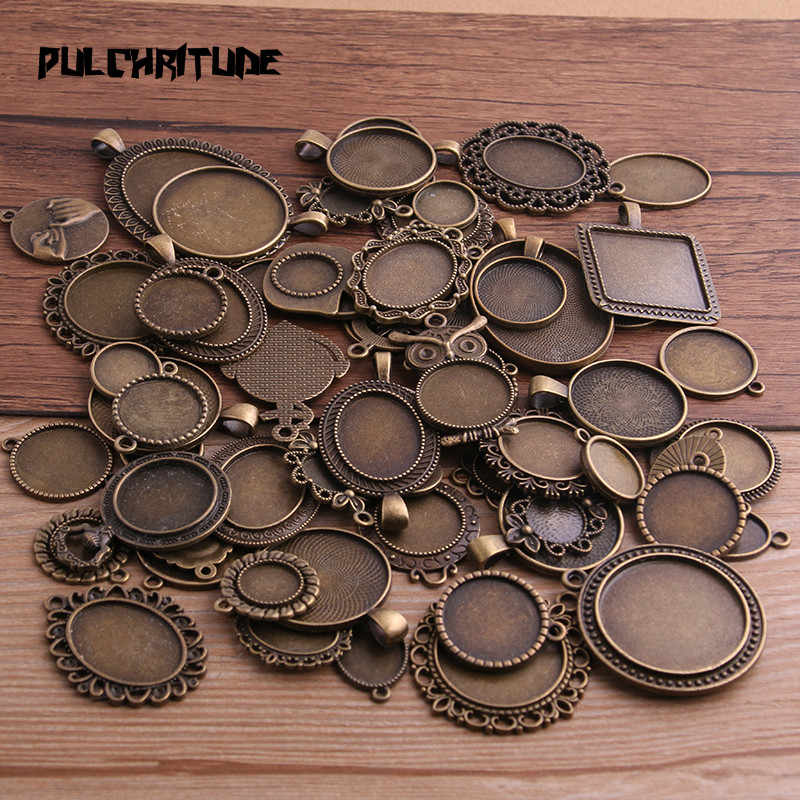 PULCHRITUDE 30g Random Antique Bronze Pierced Mixed Size 5-200 Style Cabochon Base Setting Charms Pendant P6683