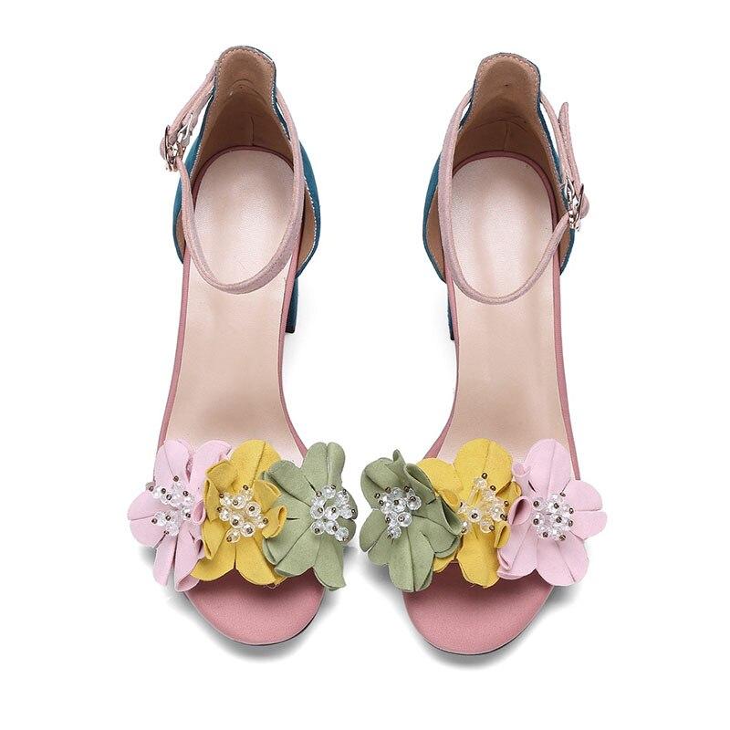 Wetkiss 2019 패션 꽃 샌들 여름 키즈 스웨이드 숙녀 샌들 발굽 뒤꿈치 여성 신발 버클 여성 신발 핑크 베이지-에서하이힐부터 신발 의  그룹 3