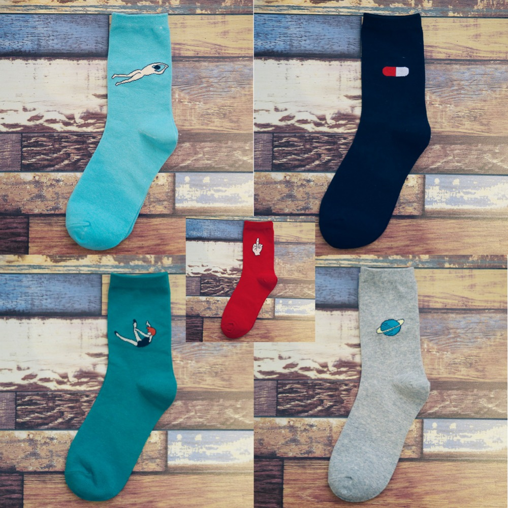 New Fashion Printing Sock long Casual socks candy 5 color style European Women Harajuku in tube socks cotton Solid color