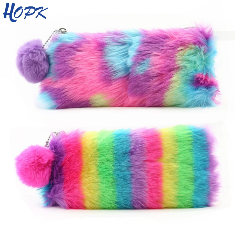 Cute Rainbow Pencil Case For Women Girls School Supplies Faux Rabbit Fur Ball Makeup Storage Pompom Cosmetic Bag Stationery