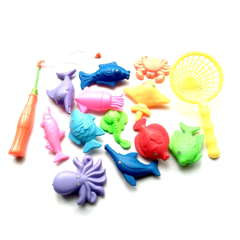 Children's 14pcs/Set Magnetic Fishing Parent-child interactive Toys Game Kids 1 Rod 1 net 12 3D Fish Baby Bath Toys outdoor toy multi function parent child play toys fishing electric toys blue pink