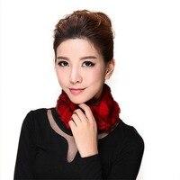 Güzel Kadın Örme Rex Tavşan Kürk Atkısı Sevimli Kürk Yuvarlak Wrap Moda Kız Kış Eşarp Sıcak Boyun Isıtıcı AU00233