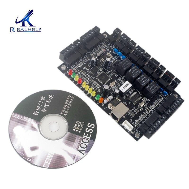 Placa de controle de acesso tcpip, 4 portas, painel de controle de acesso casa, programação rfid, sistema de entrada de porta com software swipe card, acesso