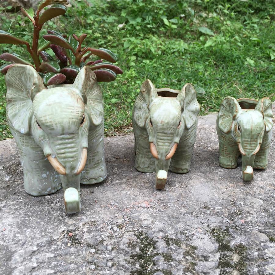 1pc New design do the old retro glaze ceramic flower pot cute elephant shape succulent planter pot home desktop decoration