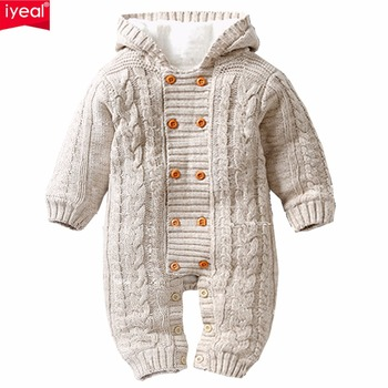 IYEAL Thick Warm Infant Baby Rompers Winter Clothes Newborn Baby Boy Girl Knitted Sweater Jumpsuit Hooded Kid Toddler Outerwear 1