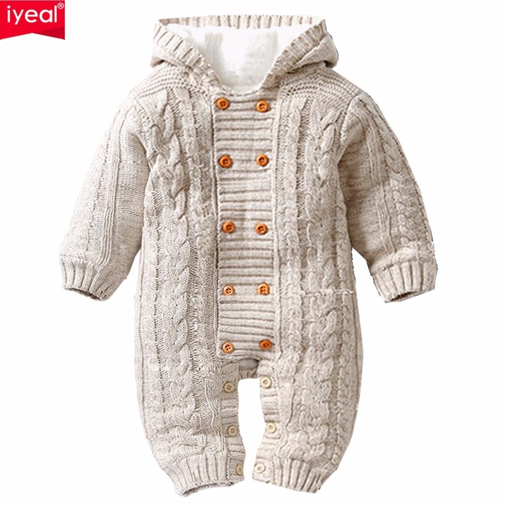 IYEAL grueso cálido bebé mamelucos del bebé ropa de invierno ropa de bebé recién nacido Niño Niña de punto suéter mono con capucha chico niño prendas de vestir exteriores