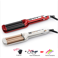 Sale Three Chicken Roller Iron Ceramic Hair Curler LCD Display 3 Barrels Wave Hair Curling Iron Hair Waver Curlers Styling A01