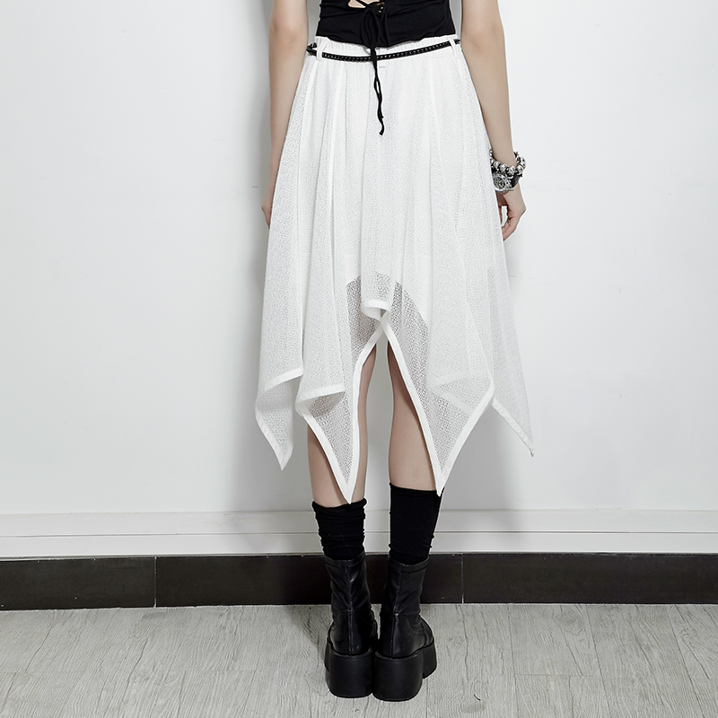 Femmes Été Noir Gothique Chauve Style souris Noir Pour blanc Maille Punk Blanc Steampunk Jupe En Irrégulière Jupes W1Ynqz8w6w