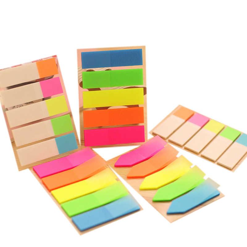 1 pack/lote Kawaii Índice de clasificación fluorescente pegar pegatinas de hoja suelta instrucciones transparentes pegatinas Bloc de notas adhesivo