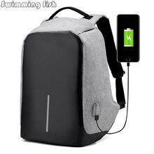 Многофункциональный USB зарядки Для мужчин 15 дюймовый ноутбук Рюкзаки для подростков Модные мужские Mochila отдыха и путешествий рюкзак анти-вор