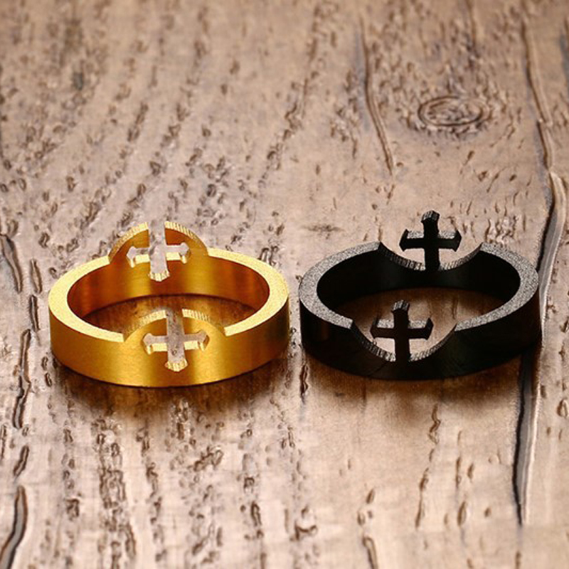 10mm No Fade Cross Cool Man Ring Black & Gold Color Titanium Stainless Steel Punk Ring Men Male Jewelry