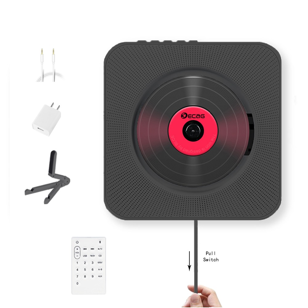 KECAG CD Player Wall Mountable Bluetooth Portable Home Audio Boombox with Remote Control FM Radio Built-in HiFi Speakers USB MP3 godovic wall cd player cd machine sound mp3 music player wall mount cd player portable with bluetooth remote control