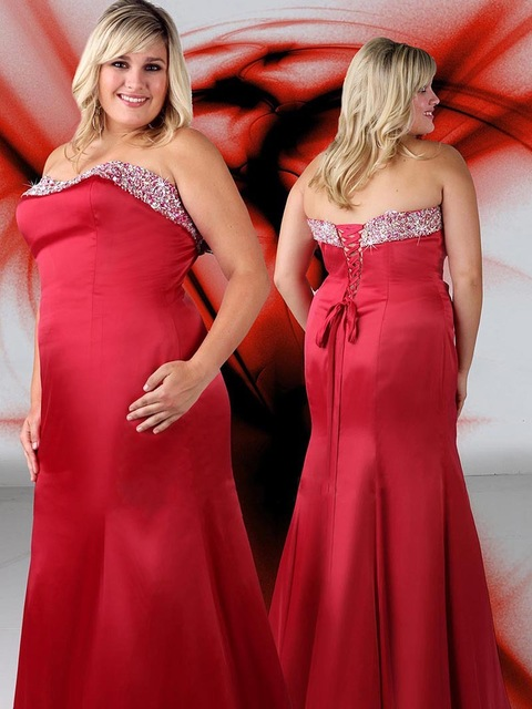 Red Plus Size Evening Dress For Women Beaded Stain Mermaid