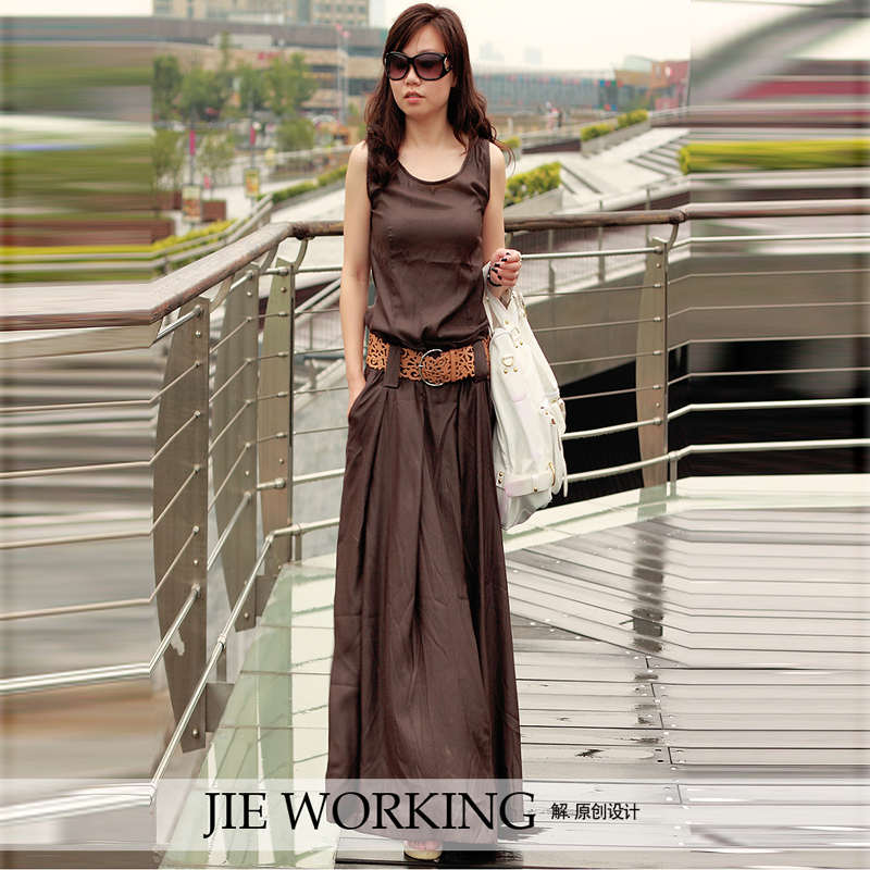 2017 Korean Fashion Low Waist Summer Sleeveless Tank Dress O neck Loose Ultra Long Female Floor