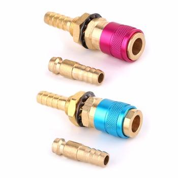 Chłodzony wodą gazu Adapter szybkie złączka dla spawanie TIG latarka + 8mm wtyczka tanie i dobre opinie OOTDTY NONE CN (pochodzenie) Other Quick Connector GOOD M8 M8 Red Blue (optional) 62mm 2 44in 1 Set