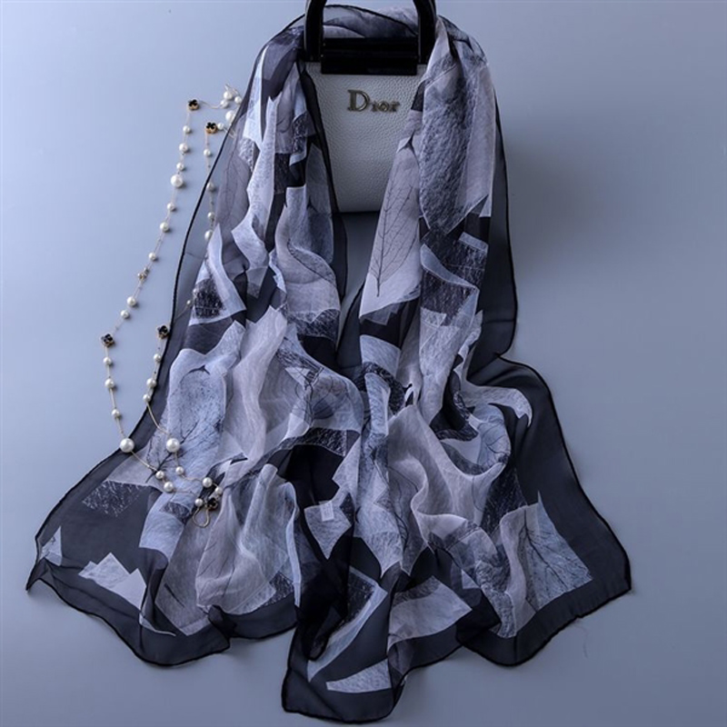 REALSISHOW 2019 Autumn Winter Women scarf Luxury Brand Fashion 100 Silk Georgette Fabric Scarves For Ladies Thin shawl 160 50cm in Women 39 s Scarves from Apparel Accessories